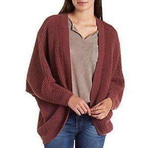 Waffle knit gray cardigan